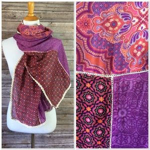 Boho Hippie Scarf Sheer Purple Print & Eyelet Trim